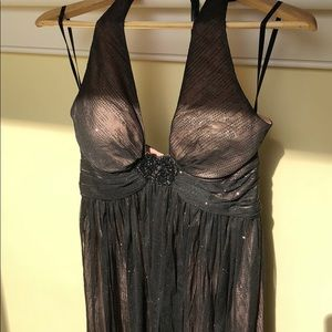 WHBM black and nude halter cocktail dress